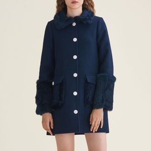 Maje Blue Gram Wool Fur Coat